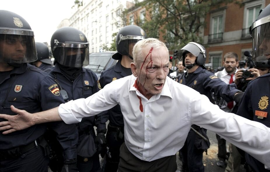 Starcia podczas demonstracji w Madrycie