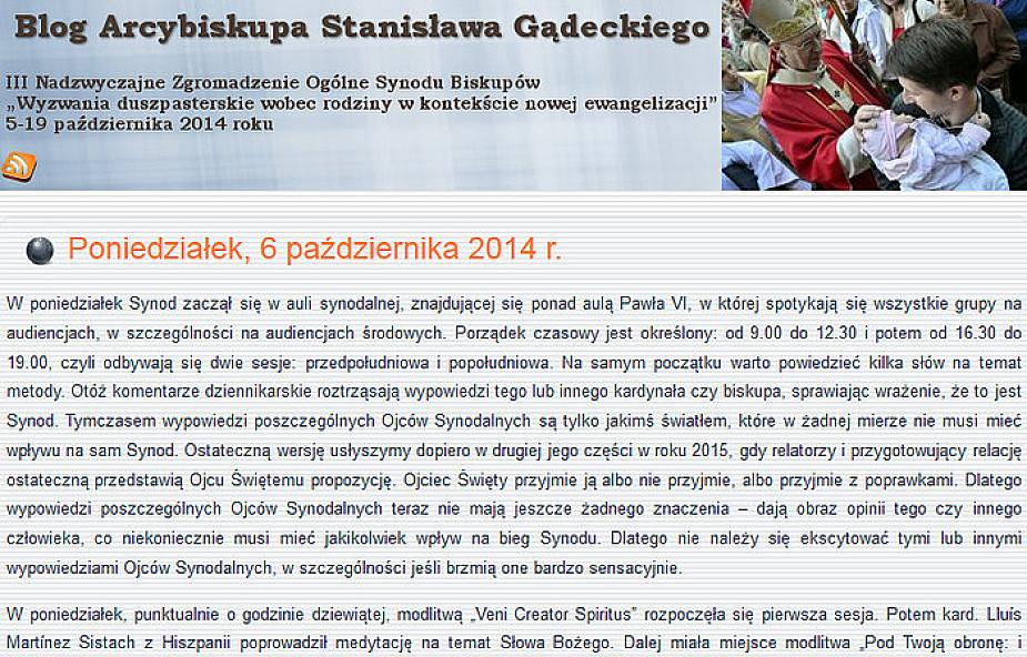 Abp Gądecki pisze blog z Synodu Biskupów