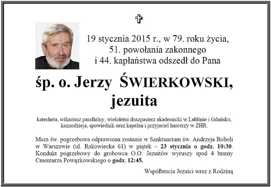 Zmarł jezuita o. Jerzy Michał Świerkowski - zdjęcie w treści artykułu