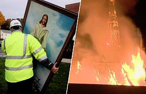 Pożar doszczętnie zniszczył zabytkowy kościół. Ze zgliszcz wyniesiono nienaruszony obraz Jezusa