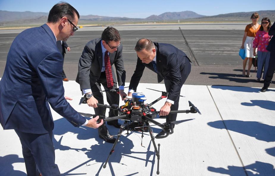 Prezydent Duda w Reno w USA obejrzał testy nowoczesnych dronów