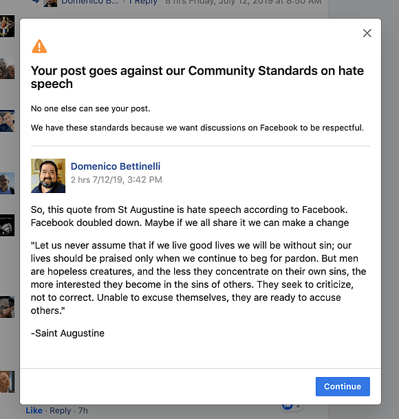 Facebook nałożył ban na św. Augustyna.