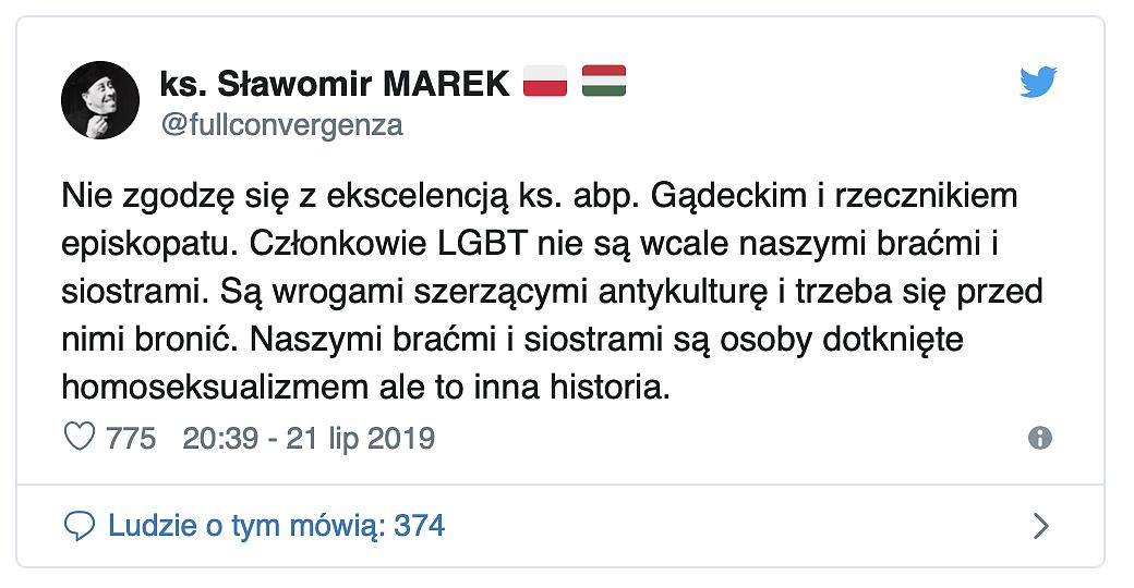 Ksiądz twierdzi, że osoby LGBT nie są naszymi braćmi. To jawny sprzeciw wobec słów abpa Gądeckiego oraz rzecznika KEP - zdjęcie w treści artykułu