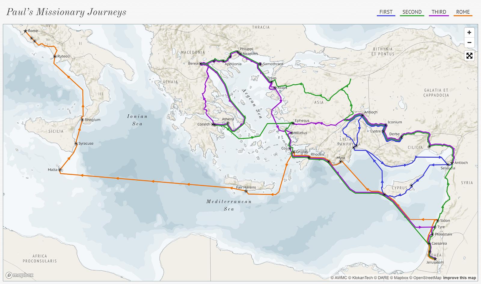 Ile kilometrów przebył święty Paweł? Ta mapa daje zupełnie nowe spojrzenie - zdjęcie w treści artykułu