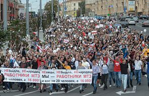 Robotnicy z zakładów produkcji traktorów idą do centrum Mińska