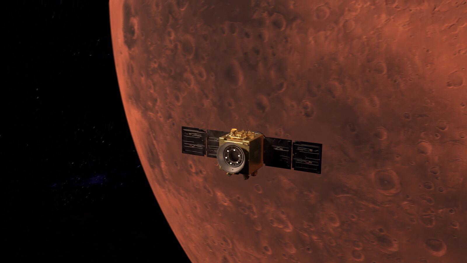 artystyczna wizja sondy Al-Amal na orbicie Marsa / fot. PAP/EPA/MBRSC/UAE Space Agency HANDOUT