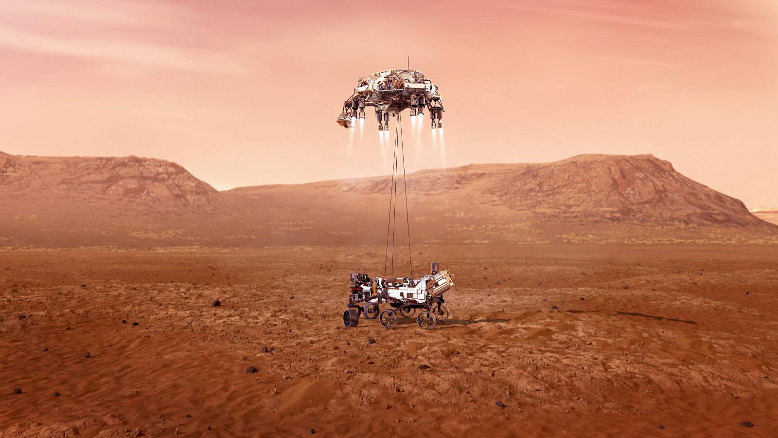 artystyczna wizja lądowania łazika Perseverance na Marsie / fot. PAP/EPA/NASA/JPL-Caltech HANDOUT