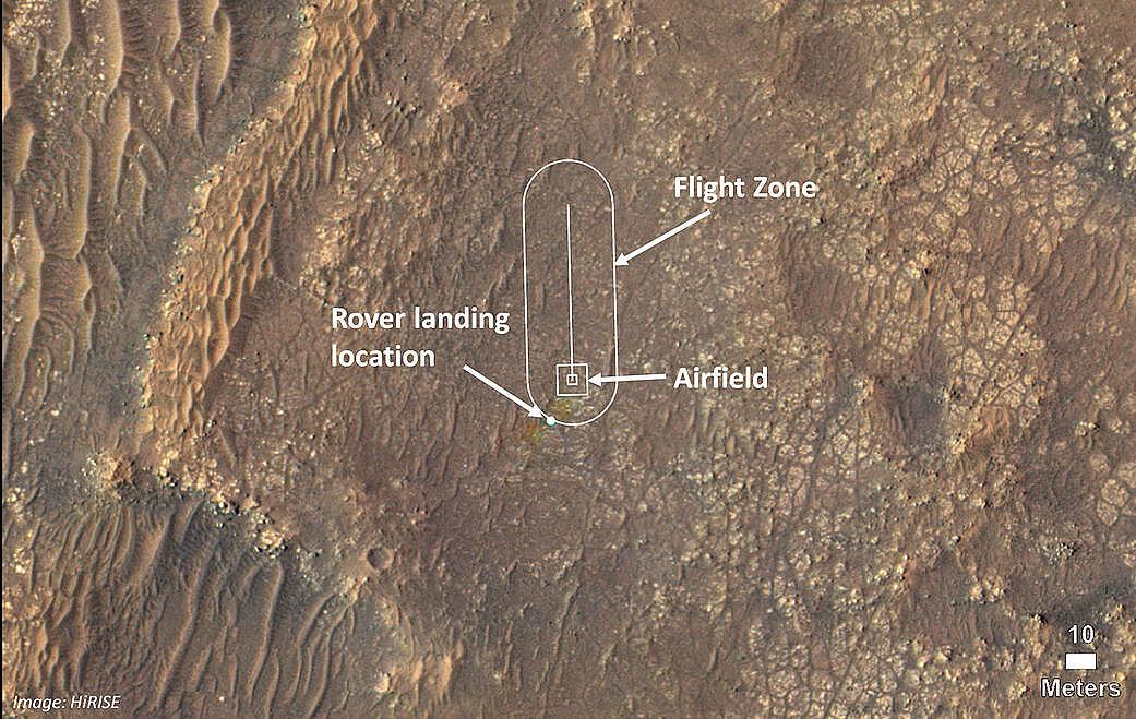 Mapa NASA przedstawiająca planowany kierunek lotu drona Ingenuity. Fot.: nasa.gov