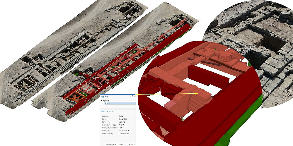 Model 3D w technologii BIM reliktów architektury portyku wschodniego Agory w Paphos uwzględniający fazy chronologiczne powstawania budowli. Utworzony na podstawie chmury punktów 3D i dokumentacji archeologicznej, następnie udostępniony w środowisku GIS.