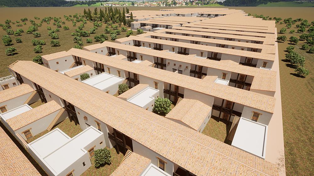 Wizualizacja rekonstrukcji antycznego miasta Olint z wygenerowanymi proceduralnie typami hellenistycznych budynków mieszkalnych.