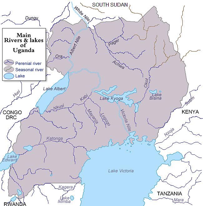 Główne rzeki i jeziora Ugandy (fot. Wikipedia commons)