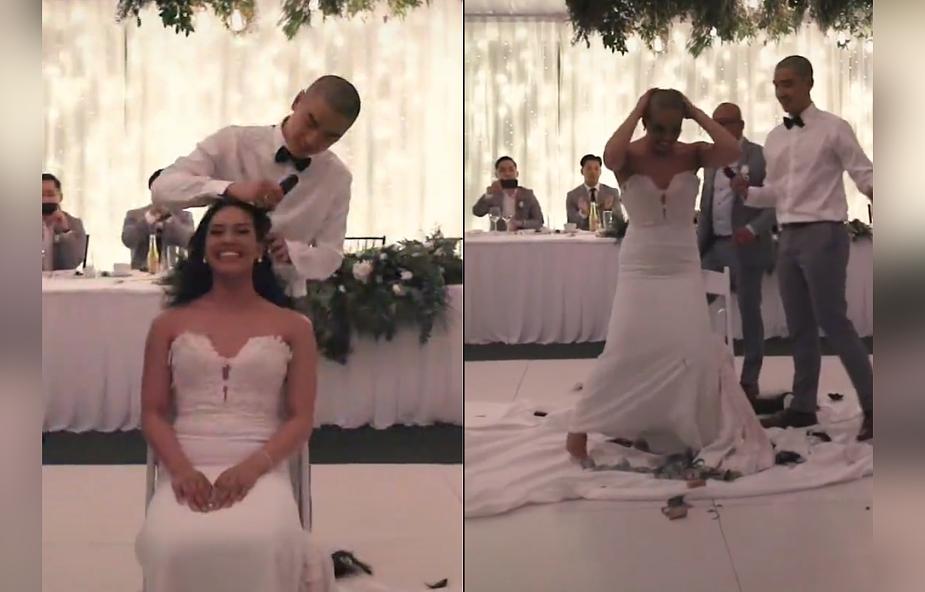 Wyjątkowe wesele. Państwo młodzi zamiast pierwszego tańca ogolili sobie głowy