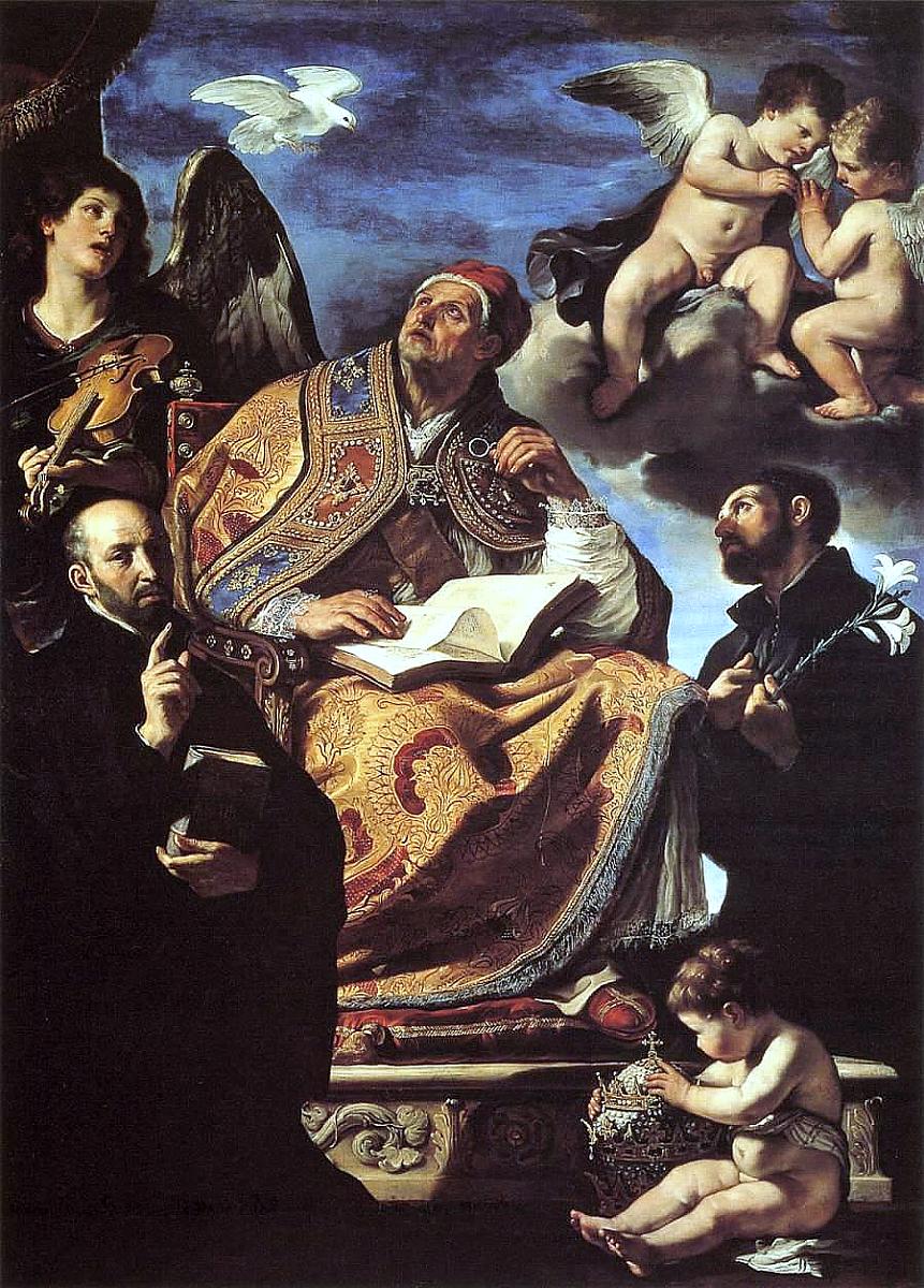 Św. Grzegorz Wielki ze św. Ignacym i św. Franciszkiem Ksawerym - Guercino, Publ. dom., via Wiki. Comm.