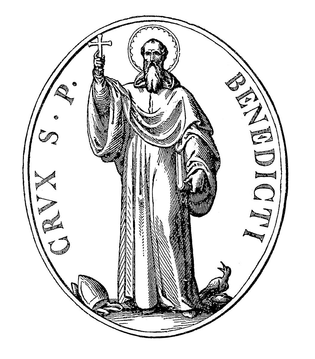 Medalik św. Benedykta - awers