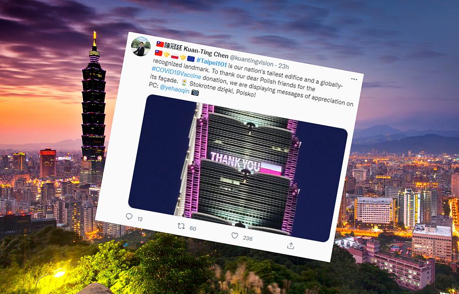 Tajwan w niezwykły sposób dziękuje Polsce za szczepionki przeciw COVID-19